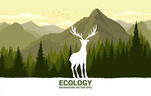 Silhouette des großen hirsches mit waldhintergrund für natürliche pflege und rettet die umwelt.