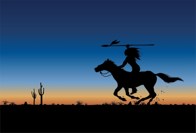 Silhouette des indianischen reitens der amerikanischen ureinwohner.