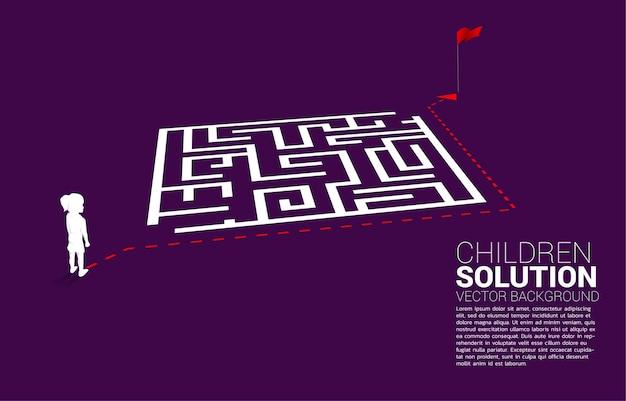 Silhouette des mädchens mit routenpfad gehen um das labyrinth zum ziel. konzept der bildungslösung und zukunft der kinder.