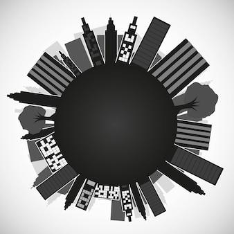 Silhouette des Planeten mit Gebäuden isoliert