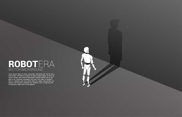 Silhouette des roboters und sein schatten des menschen.