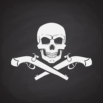 Silhouette des schädels jolly roger mit gekreuzten pistolen auf tafelhintergrund vektor-illustration