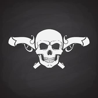 Silhouette des schädels jolly roger mit gekreuzten pistolen vektor-illustration piraten flaggensymbol