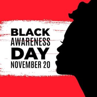 Silhouette des schwarzen bewusstseins-tages der frau