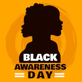 Silhouette des schwarzen bewusstseins-tages des mannes und der frau