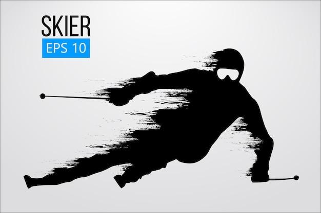 Silhouette des skifahrers, slalom