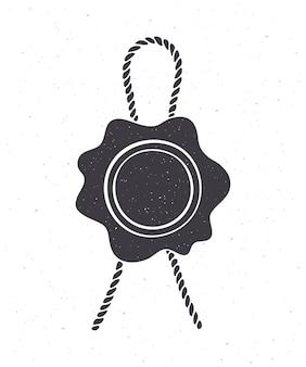 Silhouette des vintage-wachssiegel-juteseil sicherheitsstempel mit bindfaden für post vector illustration