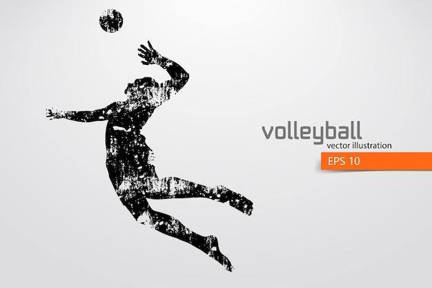 Silhouette des volleyballspielers, mann