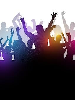 Silhouette einer aufgeregten party-menge Kostenlosen Vektoren
