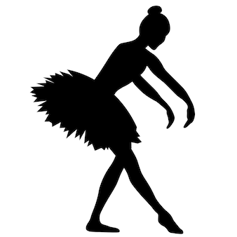 Silhouette einer ballerina, die übungen durchführt, schwarze zeichnung auf weißem hintergrund