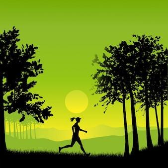 Silhouette einer frau joggen auf dem lande