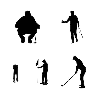 Silhouette einer golfspieler-vektor-illustration