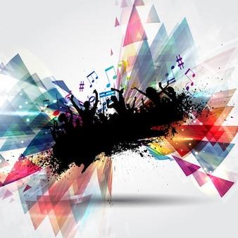 Silhouette einer grunge-party-crowd auf einem abstrakten hintergrund