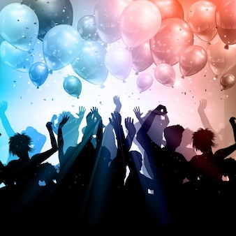 Silhouette einer partei menschenmenge auf einem hintergrund von ballons und konfetti