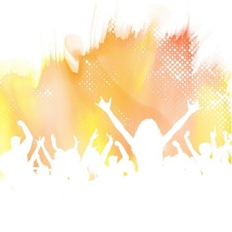 Silhouette einer party-menge auf einem aquarell-hintergrund