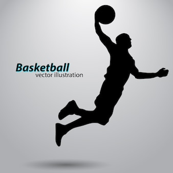 Silhouette eines basketballspielers.