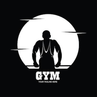 Silhouette eines bodybuilders. fitnessstudio-logo