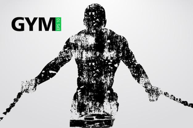 Silhouette eines bodybuilders. fitnessstudio