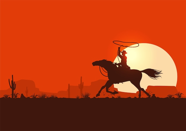 Silhouette eines cowboy-reitpferdes