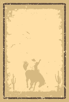 Silhouette eines cowboys, der bei sonnenuntergang auf einem wildpferd reitet
