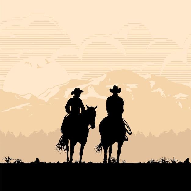 Silhouette eines cowboys, der pferde reitet