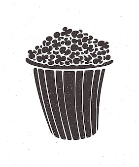 Silhouette eines eimers voller popcorn vektor-illustration clipart für menü-schilder