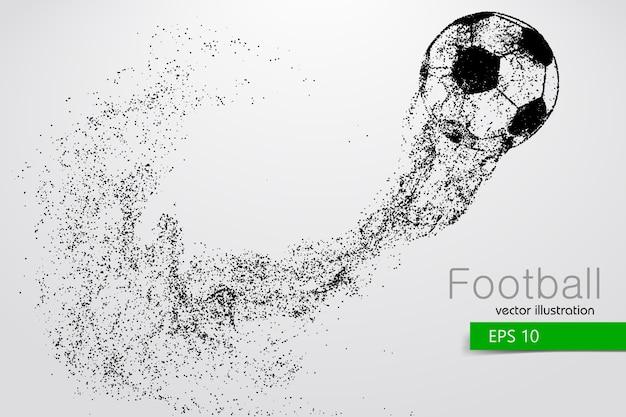 Silhouette eines fußballs von partikeln