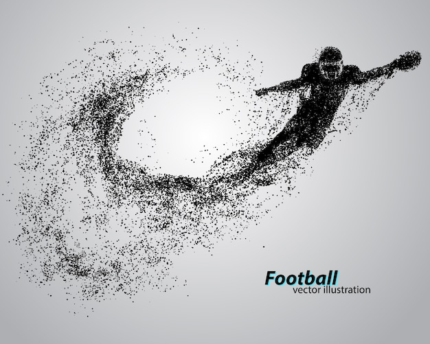 Silhouette eines fußballspielers aus partikel. rugby. amerikanischer fußballspieler
