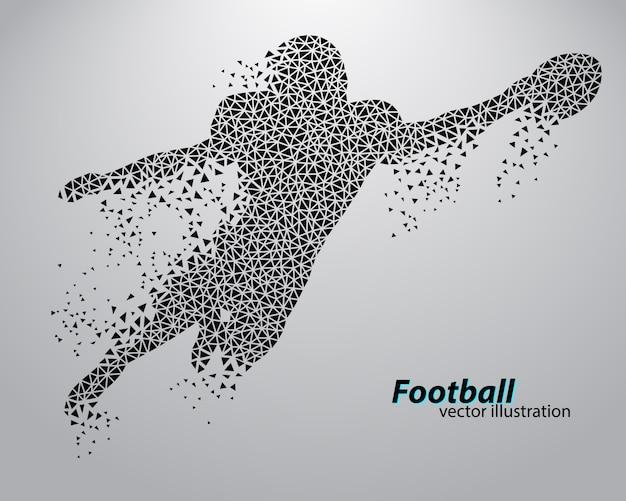 Silhouette eines fußballspielers vom dreieck. rugby. amerikanischer fußballspieler