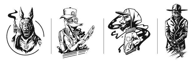 Silhouette eines gangster set sticker tshirt design