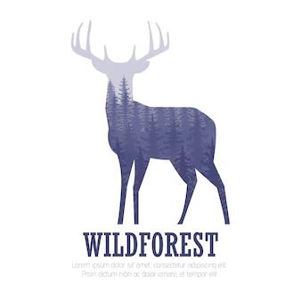 Silhouette eines hirsches mit kiefernwald, blauem und weißem hintergrund, vektorillustration