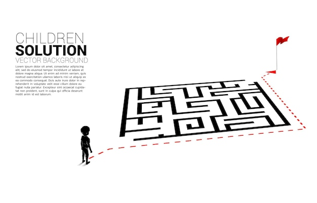 Silhouette eines jungen mit routenpfad gehen um das labyrinth zum ziel. banner der bildungslösung und der zukunft der kinder.