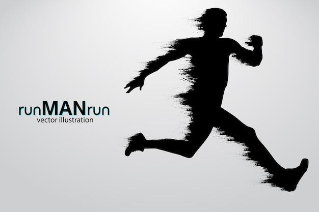 Silhouette eines rennenden mannes. illustration