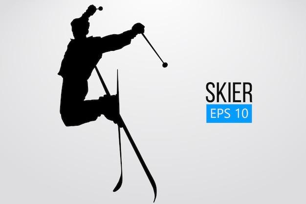 Silhouette eines skifahrers