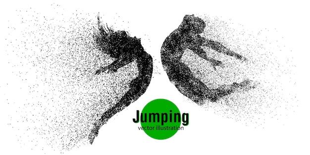 Silhouette eines springenden mannes und einer springenden frau