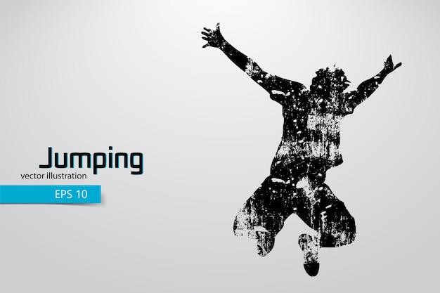 Silhouette eines springenden mannes