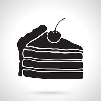 Silhouette eines stück kuchen mit sahne und kirsche vektor-illustration