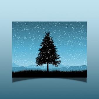 Silhouette eines tannenbaums auf einer verschneiten nacht