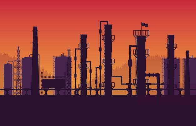 Silhouette erdgaspipeline industriezone auf orangefarbenem hintergrund mit farbverlauf