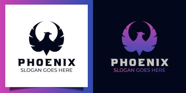 Silhouette fliegen phönix oder adler farbverlauf logo illustration zwei version