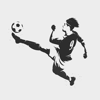 Silhouette fußballspieler treten