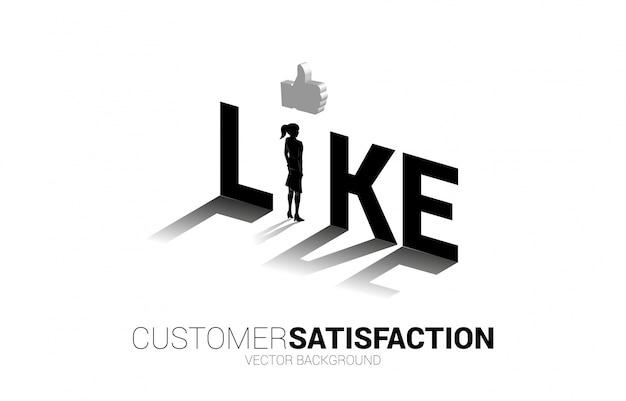 Silhouette geschäftsfrau, die mit 3d daumen hoch symbol in wie formulierung steht. konzept der kundenzufriedenheit, kundenbewertung und ranking.