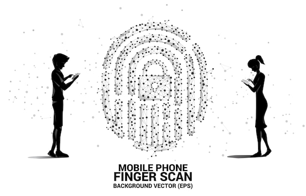 Silhouette geschäftsmann und geschäftsfrau mit handy stehend mit daumenabdruck-symbol aus punkt verbinden linienpolygon. hintergrundkonzept für fingerscan-technologie und datenschutz.