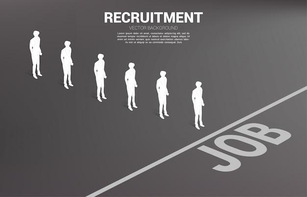 Silhouette gruppe der geschäftsmannwarteschlange zur jobzeile. konzept der geschäftskarriere und rekrutierung.