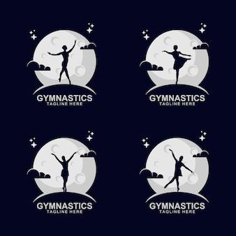 Silhouette-gymnastik-logo auf dem mond