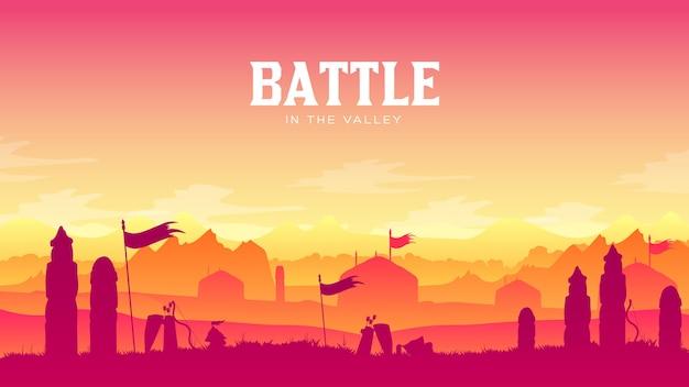 Silhouette historisches schlachtfeld bei sonnenuntergang. kämpfe mit verstreuten waffen und rüstungen.