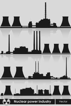 Silhouette illustration der kernkraftwerke