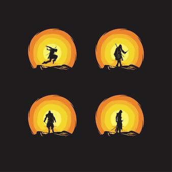 Silhouette illustration von attentätern in der nacht