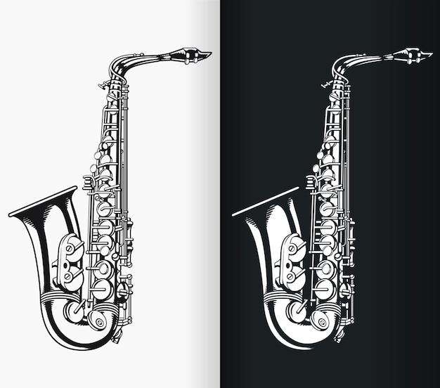 Silhouette jazz tenorsaxophon musik schwarze illustration