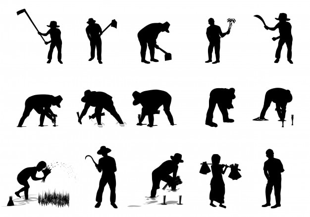 Silhouette landwirt cartoon